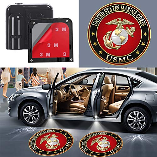 USMC Marines Veterans Gifts Car Door Welcome Logo Light for United States Marine Corps Wireless Courtesy Projector LED Ghost Shadow Lights U.S Marine Corps Lamp fit All Cars