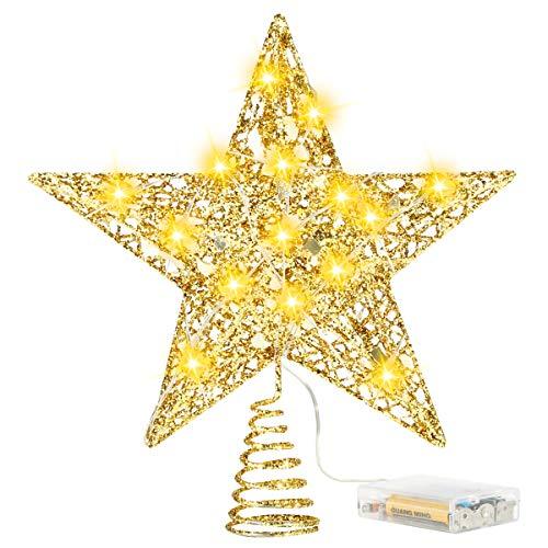 Adorno de Estrella de Árbol de Navidad de 8 Pulgadas con Luces de Cadena Led Decoración de Árbol de Navidad de Estrella de Árbol de Estrella de 5 Puntos con Brillo