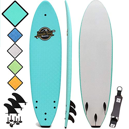 South Bay Board Co. - Premium Beginner Soft Top Surfboards - 7' | 8' | 8'8 Sizes (8'8 Heritage - Blue, 8'8 Heritage - Blue)