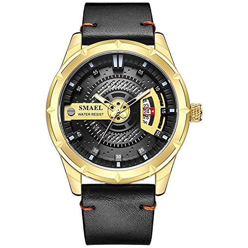 Shmtfa Relojes MultifuncióN para Hombres Reloj Pulsera Cuarzo AnalóGico 3ATM CronóGrafo Impermeable con Correa Acero Inoxidable Dial Calendario para Hombres DecoracióN Negocios(Dorado)