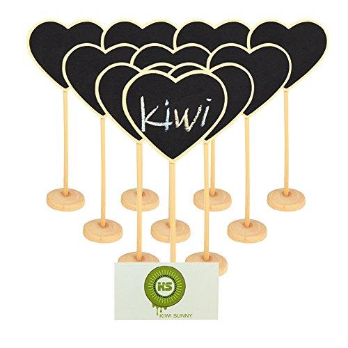 Bcony Corazón mini Pizarra pizarrón Madera WordPad de tableros de mensajes para fiesta boda Número de mesa/tarjeta de lugar el establecimiento de decoración, juego de 10