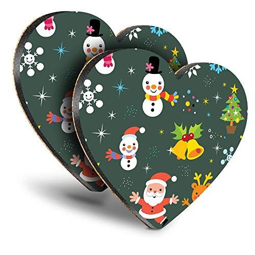 Destination Vinyl ltd Great Posavasos (juego de 2) con diseño de corazón de Navidad, Papá Noel, reno, muñeco de nieve y bebida, brillante, para cualquier tipo de mesa #44604