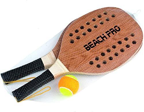 Racchettoni Beach Tennis Racchette da Spiaggia Racchette da casa racchettoni in Legno Adulto Bambino Racchette Mare volano in Custodia con Pallina Racchettoni in Legno Gioco