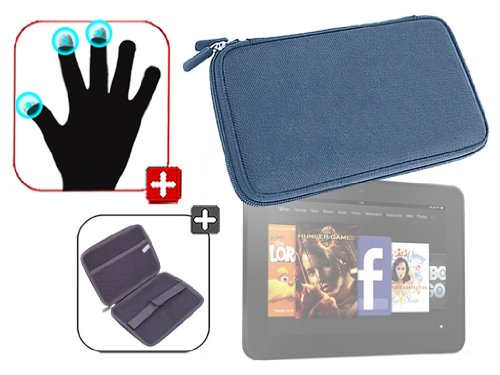 """DURAGADGET Housse étui résistant en EVA Rigide Bleu + Gants capacitifs conducteurs Taille L (Large) pour Nouvelle Tablette Kindle Fire 7"""" d'Amazon – G"""