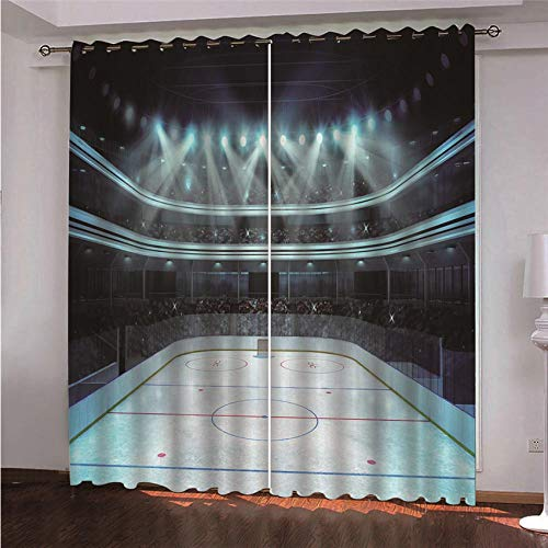 CURTAINSCSR Blackout Curtains Stadium Polyester Printed Curtains 72.04x84.25 inch With Eyelets Super Soft Thermal Insulated Curtains for Living Room Bedroom/Kids Room Set of 2 Panels