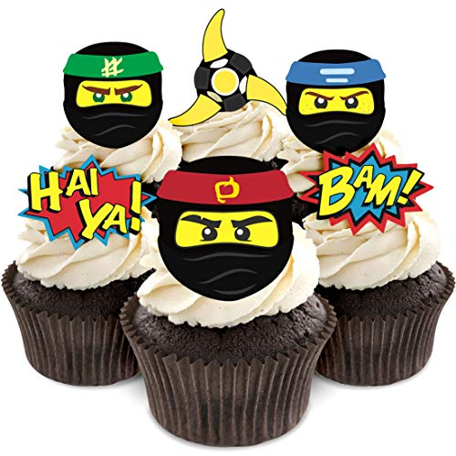 Kreatwow 24 Ninja Warrior Cupcake Toppers für Geburtstagsparty, Ninja Themen Partydekoration liefert
