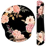 Pemlari [30% Larger] Ergonomic Mouse Pad Wrist Support and Keyboard Wrist Rest Set with Non-Slip Rubber Base, Easy-Typing and Pain Relief, for Gaming Office Home Computer Laptop, Peony