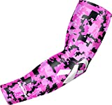 COOLOMG UV Protection Long Cover Compression Arm Sleeve Ribbon Armwarmers Breast Cancer Protectors for Youth Adults Outdoor Indoor Sports Single(1 Piece) Pink S