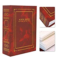 寛大な仕上がりのネイルステッカーディスプレイブック、ネイルステッカーコレクションブック、ホームマニキュアストアの厚いコントラストの透明な素材のレトロなスタイル(red)