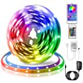 LED Strip Lights, KIKO Smart Color Changing Rope Lights 16.4ft/5M SMD 5050 RGB Light Strips with Bluetooth Controller Sync to Music Apply for TV, Bedroom, Party and Home Decoration