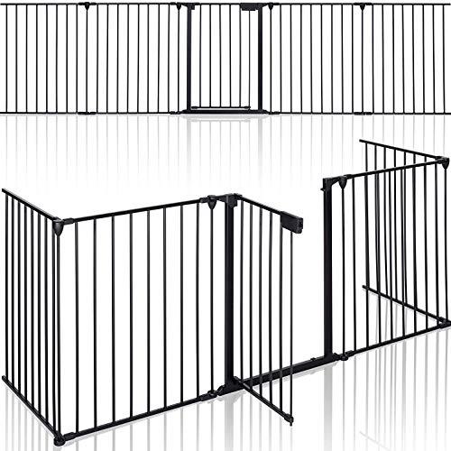 MGidea Parascintille camino Barriera di sicurezza Protettiva Pieghevole per Porte Scale 5 Pannelli 310 cm per Bambini e Animali Cancelletto Griglia di Sicurezza para scintille