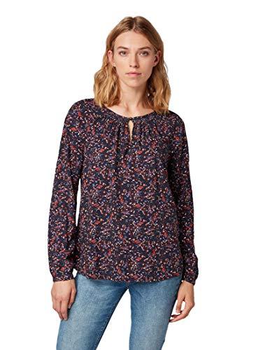 TOM TAILOR Damen Blusen, Shirts & Hemden Bluse mit Allover-Muster Navy floral Design,44