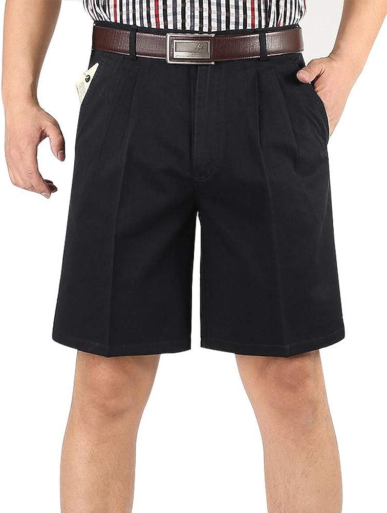 IDEALSANXUN Mens Big and Tall Classic-fit Pleated Shorts