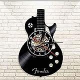 CQAZX Instruments de Musique acoustiques Instruments de Musique à Cordes Rock Musique Guitariste Disque Vinyle Horloge Murale Telecaster Guitare Horloge Murale décorative