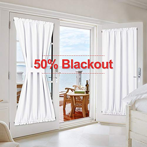NICETOWN French Door Curtains and Draperies for Privacy - Blocking 50% Sunlight, Patio Door Curtain Panels, Pure White, 54 inches Width x 72 inches Length - (2 Panels)
