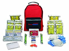 Sustains two people for three days Includes food, water, and emergency blankets One 33-piece first aid kit Two safety light sticks A backpack keeps supplies at the ready