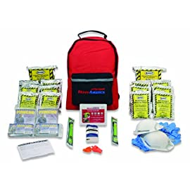 Ready america 70280 72 hour emergency kit, 2-person, 3-day backpack, includes first aid kit, survival blanket, portable preparedness go-bag for camping, car, earthquake, travel, hiking, and hunting 1 sustains two people for three days includes food, water, and emergency blankets one 33-piece first aid kit