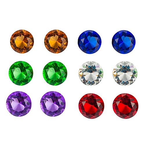 Juvale 12 Pack Diamond Acrylic Jewel Gems for DIY Crafts and Decor, Assorted Colors 1.75 x 1.75 x 1.25 Inches