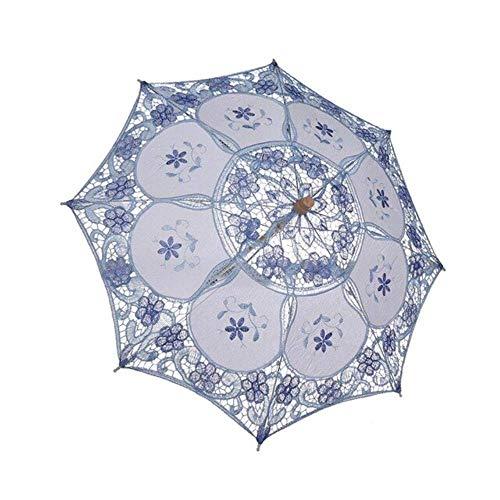AJH Mini Vintage Holzstickerei Reine Baumwolle Spitze Regenschirm Hochzeit Kleiner Regenschirm für Hochzeitsgeschenk
