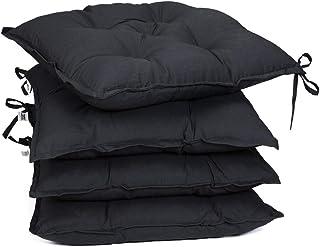 Detex Set de 4X Cojines de sillas Antracita Juego de Almohadillas Acolchadas con Correas elástica Asientos Interior Exterior