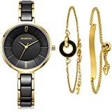 MAMONA Women's Watch & Bracelet Set Ladies Stainless Steel/Ceramic Watch L3887GT (Black)