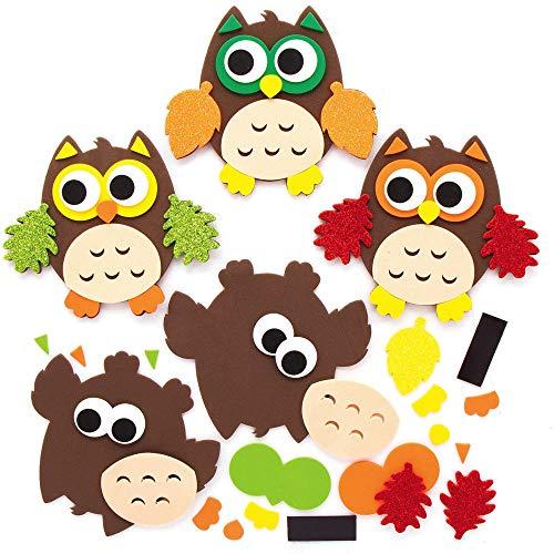 Baker Ross AX161 Herbst Eule Magnete Mix & Match Bastelset für Kinder - 8 Stück, Festliche Kreativsets und Bastelbedarf zum Basteln und Dekorieren zur Weihnachtszeit