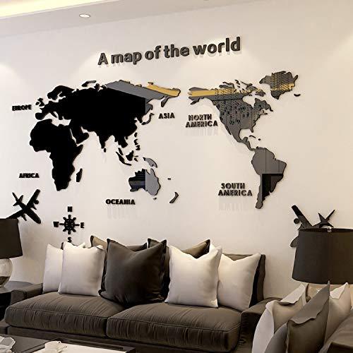 Mapa Mundi Pared Grande,Decoración De Pared De Mapa Del, Acrílico Pegatinas De Pared Decoración Oficina Estudio Sala De Estar Sofá Fondo Pegatinas De Pared 180 * 100cm Negro