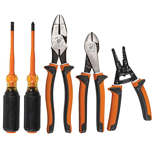 Klein Tools Conjunto de ferramentas de chave de fenda isolada 94130 1000 V com pontas Phillips número 2 e ponta fina de 0,6 cm, 2 alicates e descascador de fios