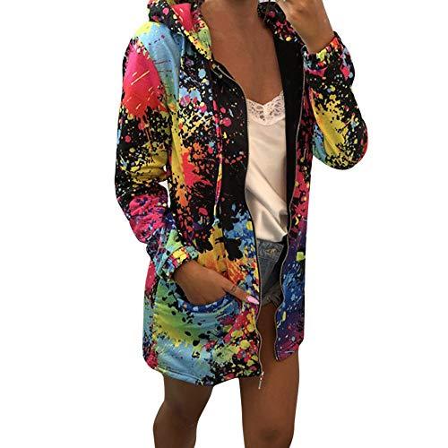 HWTOP Kapuzenjacke Sweatjacke Hoodies Jacke Damen Sport Freizeit Mantel Sweatshirt mit Kapuzen Taschen Tie-dye Färben Drucken Kapuzenpullover Freizeitjacke Outwear Pulli Tops Overcoat