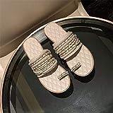 WWLZ Zapatillas de Verano Zapatillas Planas para Mujer Zapatillas con Punta de Cadena Zapatillas con Punta Abierta Zapatillas sin Cordones Zapatillas de Cuero