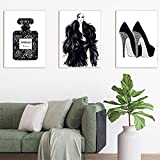 LZASMMVP Chica de Moda Pintura en Lienzo Perfume Gris Tacones Altos Carteles e impresión Imágenes artísticas de Pared para la decoración del hogar de la Sala de Estar   40x60cmx3 Sin Marco
