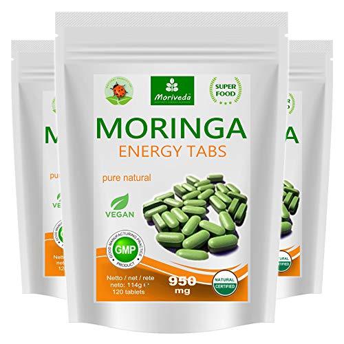 360 Moringa Energia Tabs 950mg o Moringa cápsulas 600mg - Oleifera, vegetariano, Producto de calidad de MoriVeda (3x120 tabs)