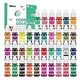 Coloranti Alimentari a 36 colori - Colorante Alimentare Liquido Concentrati per Cuocere, Decorare, Glassare e Cucinare - Coloranti Alimentari Vibranti per Fondente, Slime e Mestieri - Flaconi di 6 ml
