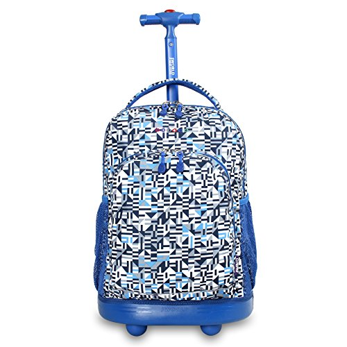 J World New York Sunny Rolling Backpack for Kids and Adults, Geo Blue, One Size