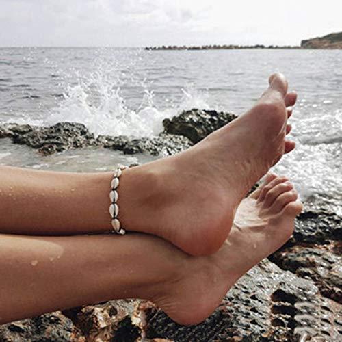 Yean Boho Shell Fußkettchen Conch Knöchel Armband Mode Fuß Kette Schmuck für Frauen und Mädchen (schwarz)