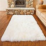 DAOXU piazza tappeto faux fur morbido soffice tappeto peloso faux montone tappeto tappeto tappeto soggiorno camera da letto decorazione (75x120cm, bianco)