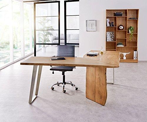 DELIFE Bürotisch Live-Edge Akazie Natur 170x170 Gestell Silber Baumkante Schreibtisch