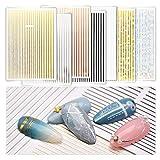 7 Sheets Nail Sticker Metallic Line...