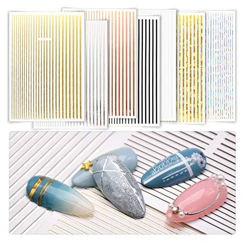 7 Sheets Nail Sticker Metallic Line Holographic Iridescent Set Gold...