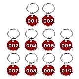 Wakauto numeriert kennzeichnungsmarken Metall Runde 1-10 Numeriert Schlüssel Anhänger ID Tags Key Chain mit Ring für Hotel Schulen Saunen Büro Schlafsaal Fitnessstudio Schließfächer Rot 10 Stück