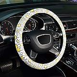 ZHOL Universal 15 inch Microfiber Leather Auto Car Steering Wheel Cover, Petal