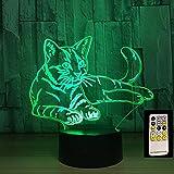 Lying Cat USB Power Sleeping Lava 3D LED Luz de noche Lámpara de mesa Decoración de cabecera Regalo para niños