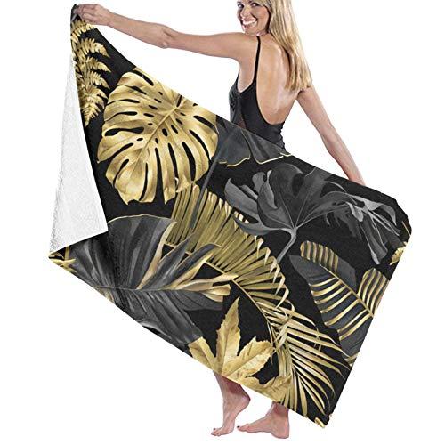 Microfibre Beach Towel Large Gold Black Tropical - 130x80cm Lightweight & Dry Microfibre Towel - Perfect as Beach Towel & Travel Towel