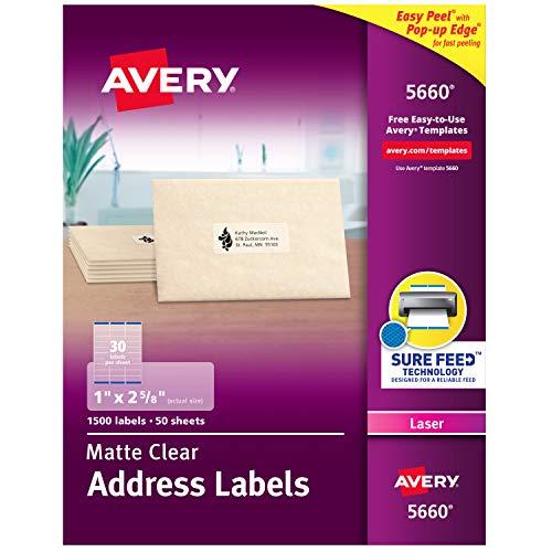 Avery 5660 Adress-Etiketten für Laserdrucker, matt, matt, transparent, 1,500 Etiketten