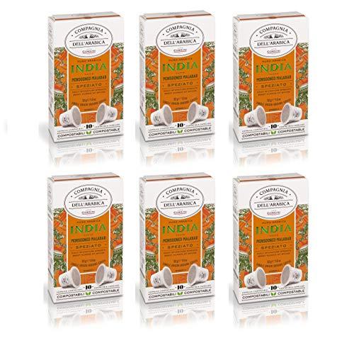 Caffè Corsini Compagnia dell'Arabica Caffè Monorigine India 100 % Arabica, Caffè Espresso in Capsule Compostabili Compatibili Nespresso, Cremoso e Speziato, Confezioni da 10 capsule