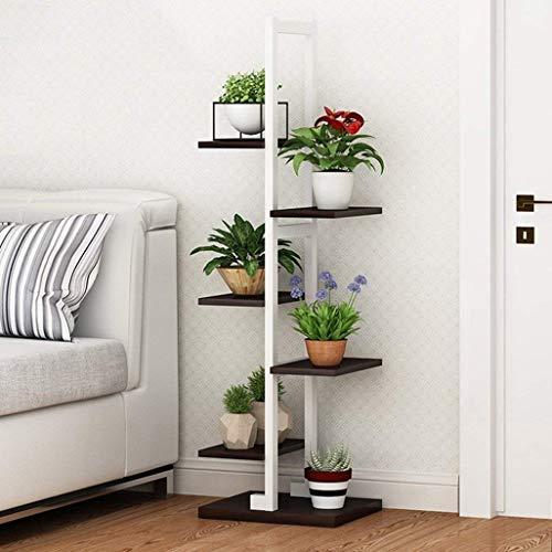 LSNLNN Soporte de la planta, Sala flor del acero soporte de madera estrecha de hierro forjado de múltiples capas cubierta de múltiples funciones multi-Carne verde Rábano Plataforma dormitorio aterriz