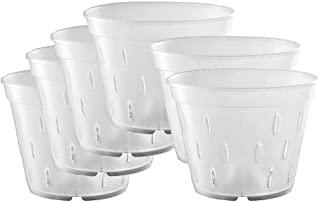 YIKUSH 7 inch 10 Pack Orchid Clear Flower Pot Plastic Planter Breathable Slotted