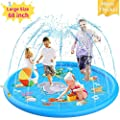 Splash Pad for Kids - Sprinkler for Kids and Toddler Pool for Learning ? Children?s Sprinkler Pool, 68?? Inflatable Water Toys ? ?Around The World? Outdoor Kiddie Pool for Babies & Toddlers