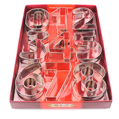 Number Cookie Cutters Set 9 piece Numeral Cookie Cutters Mold Set Stainless Steel Biscuits Fondant Decorating Jelly Fondant Sugar Number Cutter Set Tools (3 Inch Number cutter)