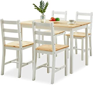 Wooden Dining Table Rectangular and 4 Chairs 5-Piece Wood Kitchen Furniture Set Dining Room Oak & White